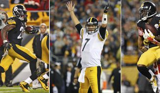 FILE - At left, in an Oct. 2, 2016, file photo, Pittsburgh Steelers running back Le'Veon Bell (26) rushes against the Kansas City Chiefs during the second half of an NFL football game in Pittsburgh. At center, in a Sept. 10, 2015, file photo, Steelers quarterback Ben Roethlisberger celebrates a touchdown against the New England Patriots in Foxborough, Mass. At right, in an Oct. 2, 2016, file photo, Steelers' Antonio Brown (84) hauls in a touchdown pass from Roethlisberger with Kansas City Chiefs cornerback Steven Nelson (20) defending, in Pittsburgh. The Cowboys play the Steelers on Sunday. (AP Photo/File)