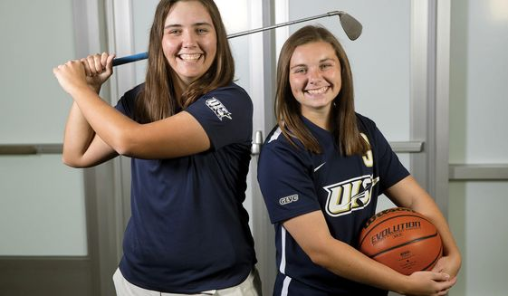 "ADVANCE FOR USE SUNDAY, NOV. 13, 2016 AND THEREAFTER - In this Oct. 21, 2016 photo, Sisters Jocelyn, left, and Emily Matsen pose for a photo in  Springfield, Ill. The University of Illinois Springfield student-athletes play different sports in the same season, so they turn to technology to keep tabs on what the other one is up to. ""I watch her soccer games even if we are traveling in the bus,"" said Jocelyn, a senior on the UIS women's golf team. ""I'll pull it up on my phone or I'll watch it at the hotel."" (Ted Schurter/The State Journal-Register via AP)"