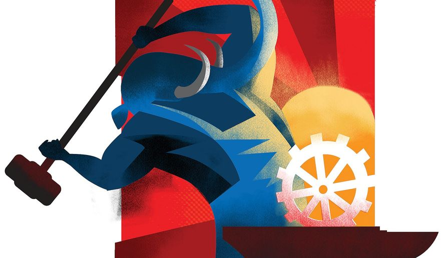 Illustration on the potential for Union reform by Linas Garsys/The Washington Times