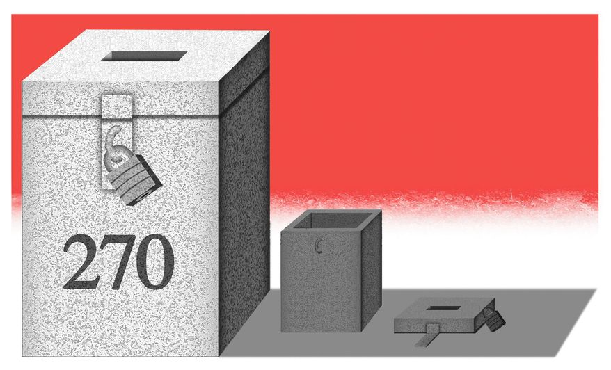 Illustration on the electoral college as abulwartk against voter fraud by Alexander Hunter/The Washington Times