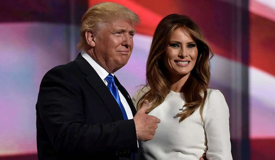 A long road, but a victorious one: then-candidate Donald Trump and wife Melania appear at the Republican National Convention in July. (Associated Press)