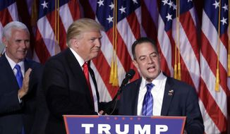 In this Wednesday, Nov. 9, 2016, file photo, President-elect Donald Trump, left, stands with Republican National Committee Chairman Reince Priebus during an election night rally in New York. Trump on Sunday named Priebus as his White House chief of staff. (AP Photo/John Locher, File)