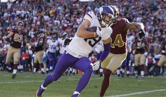 Minnesota Vikings wide receiver Adam Thielen (19) runs past Washington Redskins cornerback Josh Norman (24) for a touchdown during the first half of an NFL football game in Landover, Md., Sunday, Nov. 13, 2016. (AP Photo/Alex Brandon)