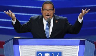 In this July 25, 2016, photo, Rep. Keith Ellison, D-Minn., speaks during the first day of the Democratic National Convention in Philadelphia. Ellison, a prominent progressive and the first Muslim elected to Congress, has emerged as an early contender to become chair of the Democratic National Committee, backed by much of the partys liberal wing. (AP Photo/J. Scott Applewhite, File)