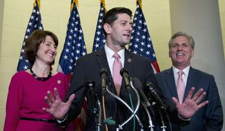 House Republicans kicked off leadership elections with a closed-door meeting to hear speeches from contenders, but the current slate of leaders topped by Speaker Paul D. Ryan, Majority Leader Kevin McCarthy and Conference Chair Cathy McMorris Rodgers did not face serious challenges in the vote slated for Tuesday. (Associated Press)
