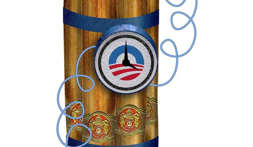Cuba Backfire on Obama Illustration by Greg Groesch/The Washington Times