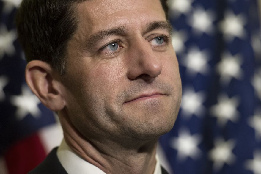 House Speaker Paul Ryan of Wis. participates in a news conference on Capitol Hill in Washington, Tuesday, Nov. 15, 2016, after he unanimously won his GOP colleagues' votes for another term at the helm of the House. (AP Photo/Cliff Owen)