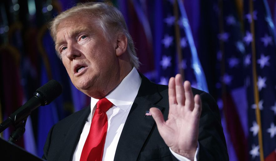 In this Nov. 9, 2016, file photo, President-elect Donald Trump speaks during a rally in New York. (AP Photo/ Evan Vucci, File)