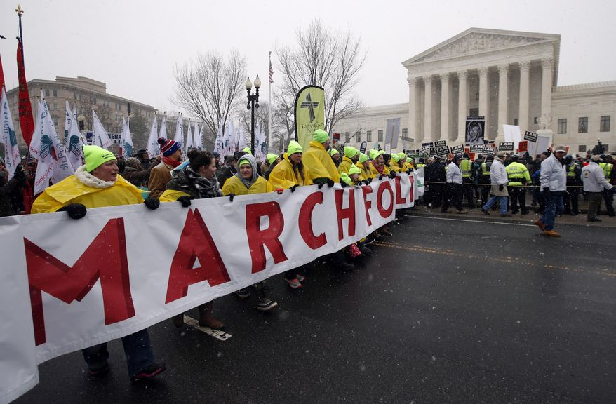 """In this Jan. 22, 2016, file photo, marchers carry a banner during the March for Life 2016, in front of the U.S. Supreme Court in Washington, during the annual rally on the anniversary of 1973 """"Roe v. Wade"""" U.S. Supreme Court decision legalizing abortion. Roe v. Wade could be in jeopardy under Donald Trump's presidency. If a reconfigured high court did overturn it, the likely outcome would be a patchwork: some states protecting abortion access, others enacting tough bans, and many struggling over what new limits they might impose. (AP Photo/Alex Brandon, File)"""
