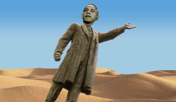 Illustration on the Obama presidency by Alexander Hunter/The Washington Times