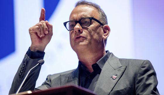 Actor Tom Hanks speaks on Capitol Hill in Washingto, Sept. 27, 2016. (AP Photo/Andrew Harnik) ** FILE **
