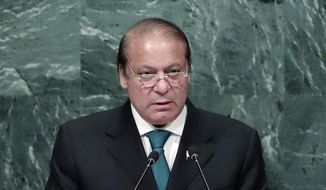 Pakistani Prime Minister Nawaz Sharif speaks during the 71st session of the United Nations General Assembly at U.N. headquarters, in this Sept. 21, 2016, file photo. (AP Photo/Julie Jacobson, File)