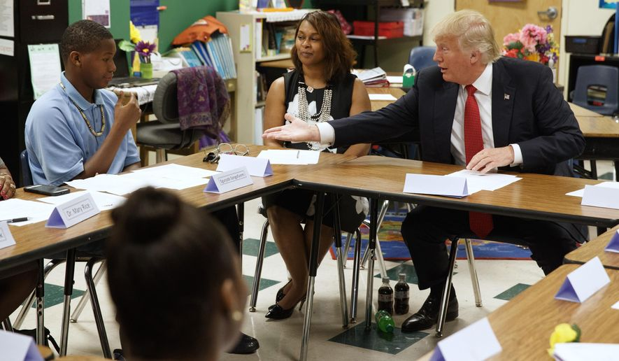 Donald Trump met with students and educators in Cleveland in September. As president, he is following up on a campaign promise to make school choice an education priority. (Associated Press/File)