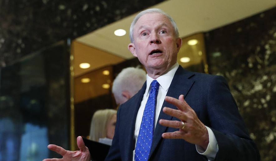 Sen. Jeff Sessions, R-Ala. speaks to media at Trump Tower, Thursday, Nov. 17, 2016, in New York. (AP Photo/Carolyn Kaster)