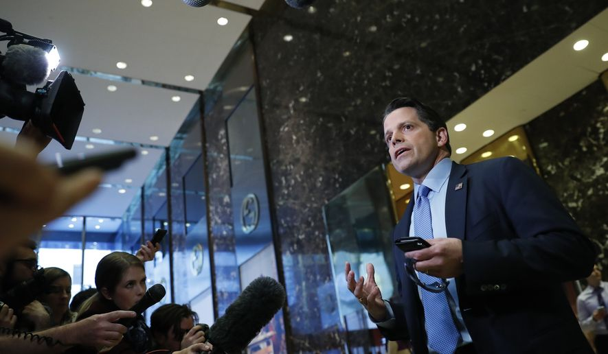 Anthony Scaramucci, a member of President-elect Donald Trump's transition team executive committee, and founder and Co-Managing Partner of investment firm SkyBridge Capital, talks with media at Trump Tower, Thursday, Nov. 17, 2016, in New York. (AP Photo/Carolyn Kaster)