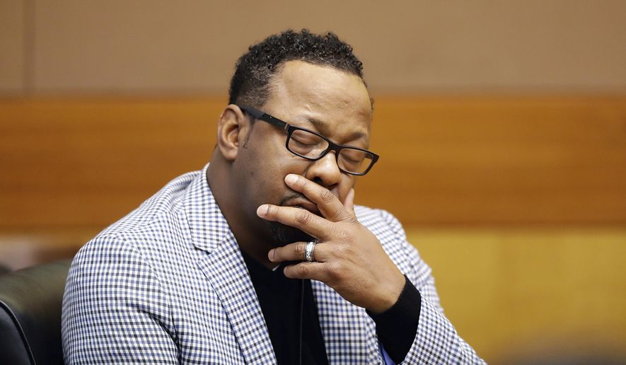 Bobby Brown, the father of Bobbi Kristina Brown, sits in court during a wrongful death case against his daughter's partner, Nick Gordon, in Atlanta, Thursday, Nov. 17, 2016. Bobbi Kristina was found face-down and unresponsive in a bathtub in her suburban Atlanta townhome in January 2015. (AP Photo/David Goldman, Pool)
