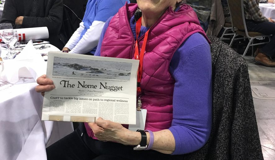This March 3, 2016, photo provided by John Handeland shows Nome Nugget publisher Nancy McGuire at a banquet in Anchorage, Alaska. Handeland, her friend and a longtime former mayor of Nome, said McGuire died Thursday, Nov. 17, 2016, in Nome, Alaska, after battling cancer for years. (John Handeland via AP)