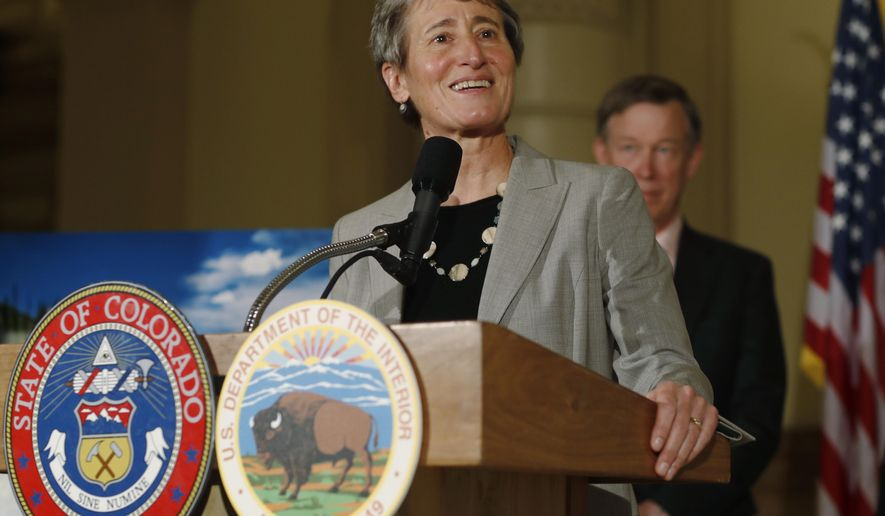 Interior Secretary Sally Jewell announces that the federal government has canceled 25 leases for oil and gas wells on pristine federal land in Colorado during a news conference Thursday, Nov. 17, 2016, in the State Capitol in Denver. Stakeholders decided after years of negotiations that preserving the parcels for recreation was a better use for the land. (AP Photo/David Zalubowski)