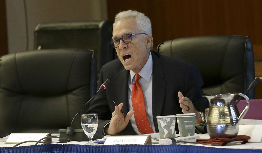 University of California regent Norman Pattiz speaks at a board of regents meeting in San Francisco, Thursday, Nov. 17, 2016. Faced with record high enrollment and the need to hire faculty, the University of California and California State University systems are considering raising tuition for the first time in six years. (AP Photo/Jeff Chiu)