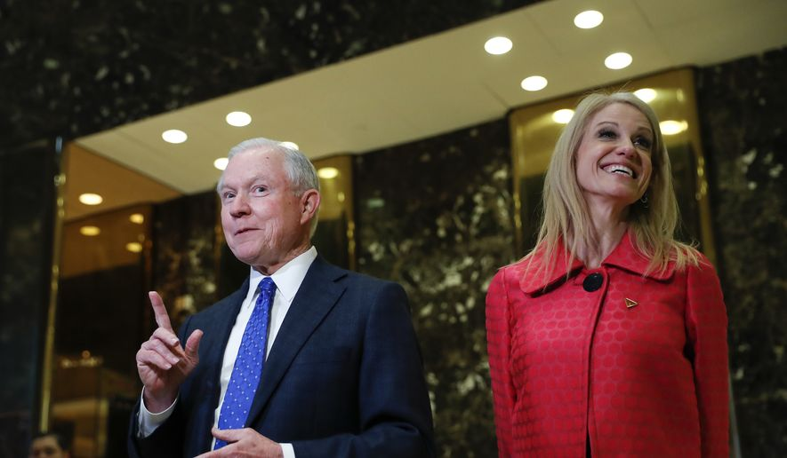 In this photo taken Nov. 17, 2016, Sen. Jeff Sessions, R-Ala., accompanied by Trump campaign manager Kellyanne Conway, speaks to media at Trump Tower in New York. President-elect Donald Trump has picked Sessions for the job of attorney general. (AP Photo/Carolyn Kaster) ** FILE **