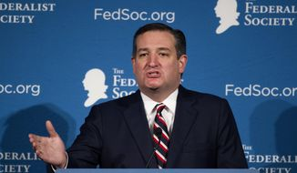 Sen. Ted Cruz, R-Texas gestures while speaking at the Federalist Society's National Lawyers Convention, in Washington, Friday, Nov. 18, 2016. (AP Photo/Cliff Owen) ** FILE **