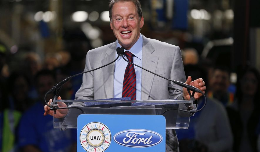 FiLE - In this Nov. 11, 2014 file photo, Bill Ford Jr., Ford Motor Company Executive Chairman, speaks during news conference on the 2015 F-150 pickup truck at the Dearborn Truck Plant in Dearborn, Mich.  President-elect Donald Trump claimed Thursday, Nov. 17, 2016,  that he convinced the chairman of Ford Motor Co. not to move an assembly plant from Kentucky to Mexico. But Ford never intended to move the plant, just production of one of the vehicles it makes.(AP Photo/Paul Sancya)