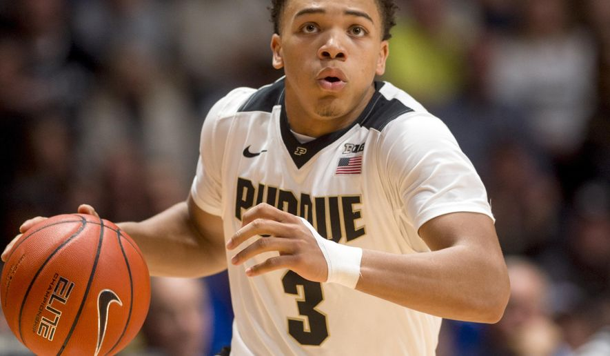 Purdue guard Carsen Edwards (3) drives the ball to the basket off a Georgia State turnover in the second half of an NCAA college basketball game in West Lafayette, Ind., Friday, Nov. 18, 2016. Purdue won, 64-56. (AP Photo/Doug McSchooler)