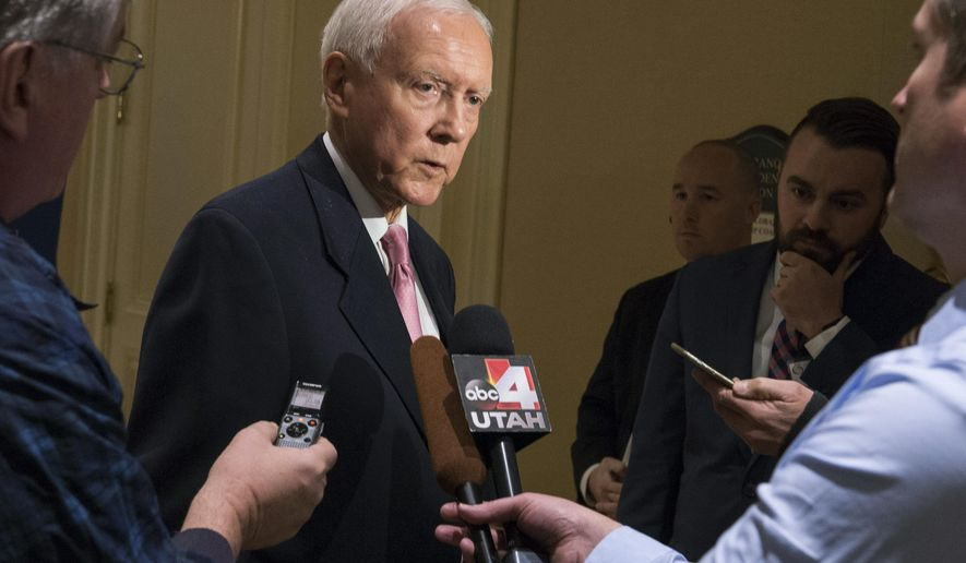 Sen. Orrin Hatch answers a few questions from the media before giving the keynote address, at the U.S. Global Leadership Coalition luncheon, at the Grand America in Salt Lake City, Friday, Nov. 18, 2016. Hatch said President-elect Donald Trump is an extraordinary man and very bright guy who understands trade but there may be work to do to encourage some of those in his administration that open markets are key to America's economic and security interests. (Rick Egan  /The Salt Lake Tribune via AP)