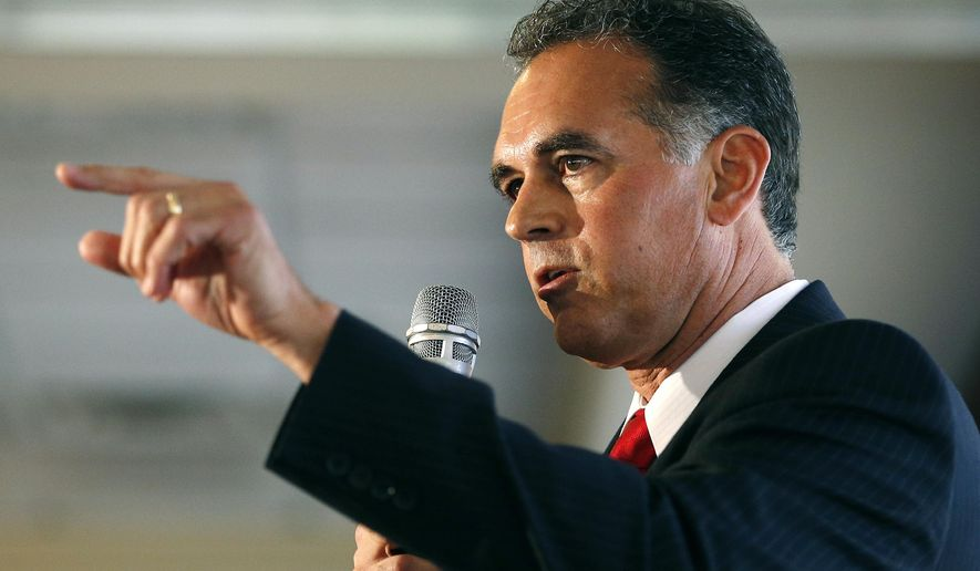 FILE - In this April 26, 2016 file photo, Danny Tarkanian participates in a Republican debate for Nevada's 3rd Congressional District in Henderson, Nev. Tarkanian, who narrowly lost the most expensive congressional race in the nation, is suing the Democrat Jacky Rosen who won, claiming that he was defamed in the final weeks of the campaign. (AP Photo/John Locher, File)