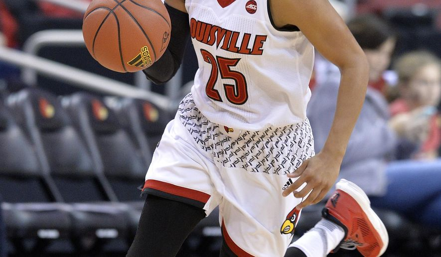 Louisville's Asia Durr (25) brings the ball up court during the first half of an NCAA college basketball game against Bowling Green, Saturday, Nov. 19, 2016, in Louisville, Ky. Darr led all scorers with 34 points. (AP Photo/Timothy D. Easley)