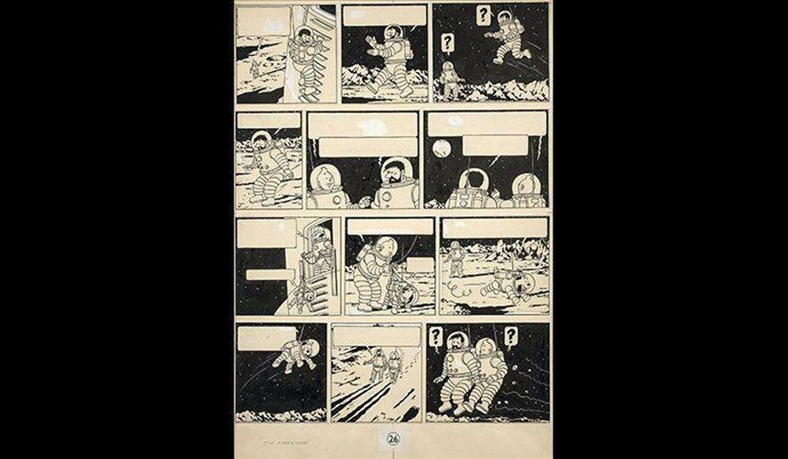 "This photo provided on Saturday, Nov. 19, 2016, by French auction house, Artcurial, shows a drawing from one of Tintin's most famous cartoon books, ""Explorers on the Moon"" by Belgian cartoonist Herge. Auction house Artcurial said a rare drawing from one of Tintin's most famous cartoon books has been sold for a record 1.55 million euros ($ 1.64 million). The original drawing in Chinese ink from the Belgian cartoonist Herge shows the fearless reporter, his white dog Snowy and his friend Captain Haddock in spacesuits, walking on the moon for the first time and looking at the Earth. (Herge-Moulinsart2016/Artcurial via AP)"