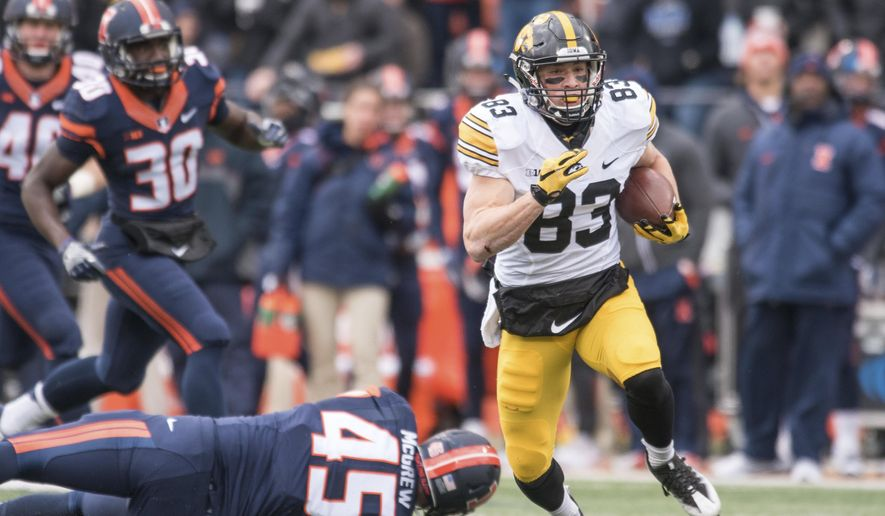 Iowa wide receiver Riley McCarron (83) returns a punt for a touchdown during the second quarter of an NCAA college football game against Illinois, Saturday, Nov. 19, 2016, at Memorial Stadium in Champaign, Ill. (AP Photo/Bradley Leeb)