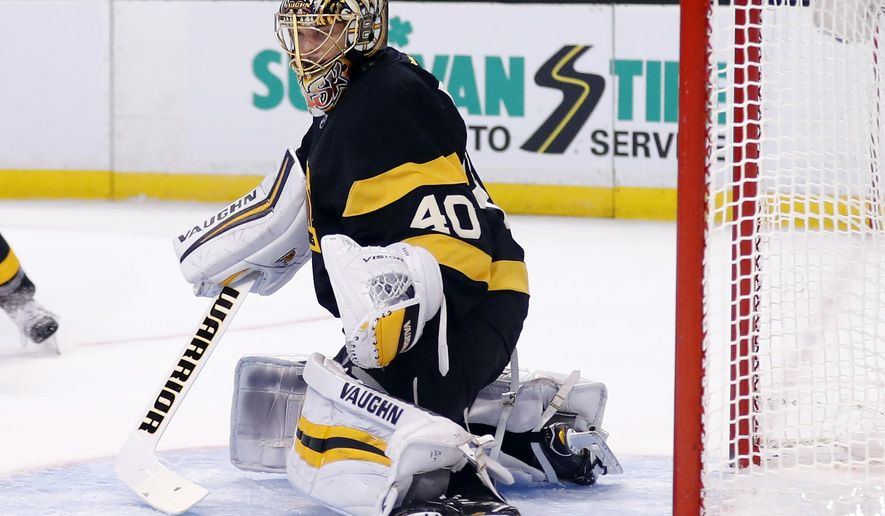 Boston Bruins goalie Tuukka Rask of Finland stops a Winnipeg Jets shot during the first period of an NHL hockey game in Boston on Saturday, Nov. 19, 2016. (AP Photo/Winslow Townson)