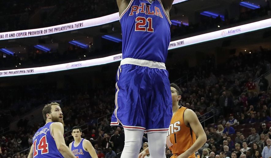 Philadelphia 76ers' Joel Embiid goes up for a dunk during the first half of an NBA basketball game against the Phoenix Suns, Saturday, Nov. 19, 2016, in Philadelphia. (AP Photo/Matt Slocum)