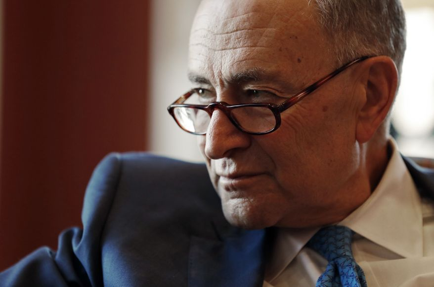 Senate Minority Leader-elect Chuck Schumer of  N.Y. speaks during an interview with The Associated Press in his office on Capitol Hill in Washington, Friday, Nov. 18, 2016. (AP Photo/Alex Brandon) ** FILE **