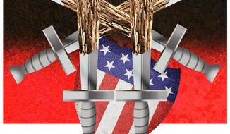 Illustration on the weakened U.S. military by Alexander Hunter/The Washington Times