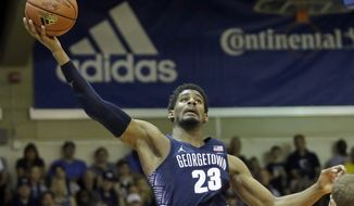 Georgetown guard Rodney Pryor (23) goes to the basket against Oregon in the second half during an NCAA college basketball game in the Maui Invitational, Monday, Nov. 21, 2016, in Lahaina, Hawaii. (AP Photo/Rick Bowmer) **FILE**