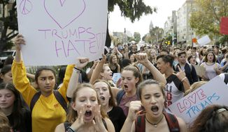In this Thursday, Nov. 10, 2016, file photo, high school students protest in opposition of Donald Trump's presidential election victory in San Francisco. Thousands of high school students have taken to the streets in cities across the country since Donald Trump's election to protest his proposed crackdown on illegal immigration and his vulgar comments about women. (AP Photo/Eric Risberg, File)