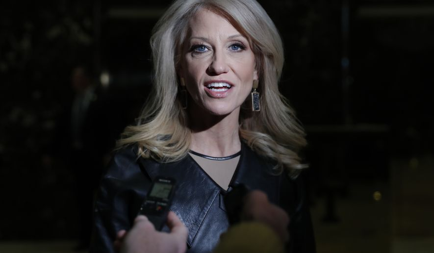 Kellyanne Conway, Donald Trump's campaign manager, speaks to media as she arrives at Trump Tower, Monday, Nov. 21, 2016 in New York. AP Photo/Carolyn Kaster)