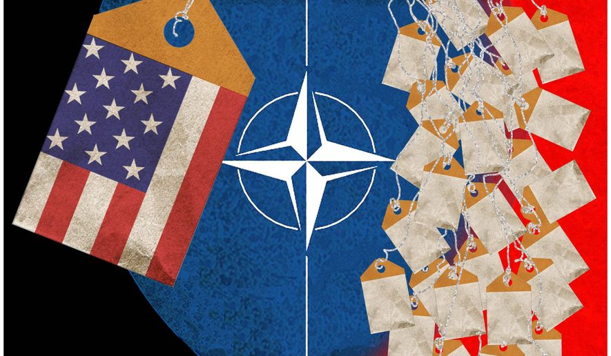 Illustration on the financial inequity among member nations in support of NATO by Alexander Hunter/The Washington Times
