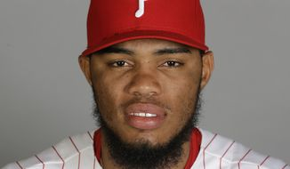 This is a 2016 photo of Jimmy Cordero of the Philadelphia Phillies. This image represents the Phillies active roster on Friday Feb. 26, 2016, in Clearwater, Fla. (AP Photo/Chris O'Meara) **FILE**
