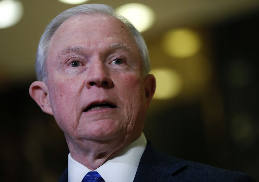 In this Nov. 17, 2016, photo, Sen. Jeff Sessions, R-Ala. speaks to media at Trump Tower in New York. (AP Photo/Carolyn Kaster)