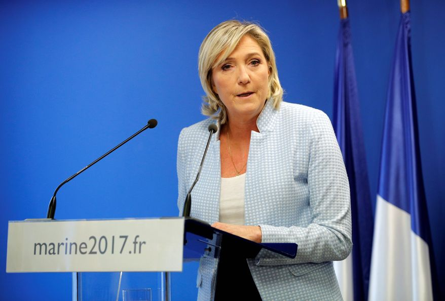 """French far-right leader Marine le Pen, a candidate in France's spring presidential elections, called President-elect Donald Trump's victory """"a sign of hope"""" for those disillusioned by globalization. She is among those decrying the dangers posed by Islamists crossing Europe's porous borders. (Associated Press)"""