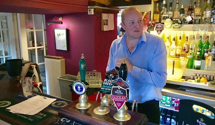 Simon Wade said patrons at his Yorkshire pub feel the British government has put too much focus on London at the cost of the decimated manufacturing base in the north. (Benjamin Paskett/Special to The Washington Times)