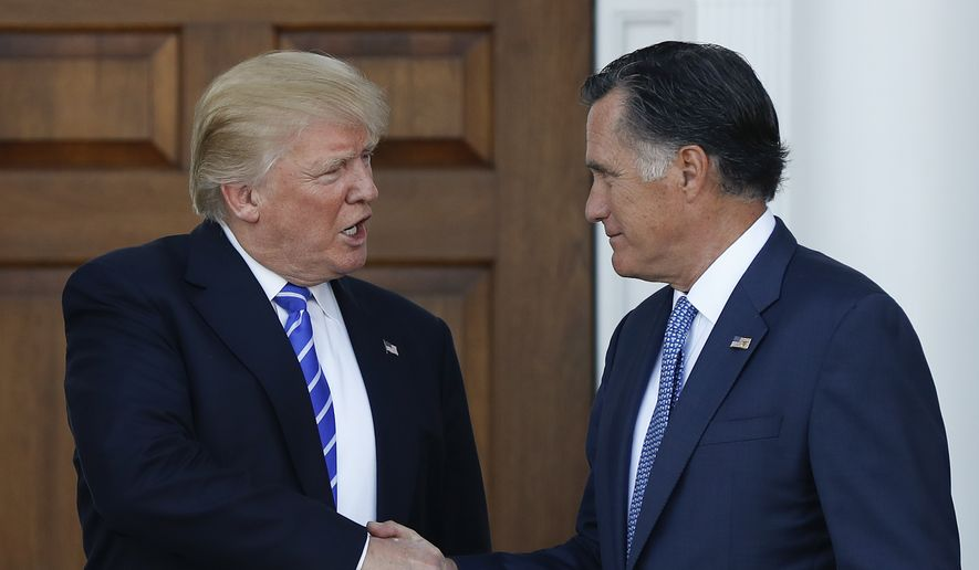President-elect Donald Trump and Mitt Romney shake hands at the entrance of Trump National Golf Club Bedminster clubhouse in Bedminster, N.J., Saturday, Nov. 19, 2016, after meeting. (AP Photo/Carolyn Kaster) ** FILE **