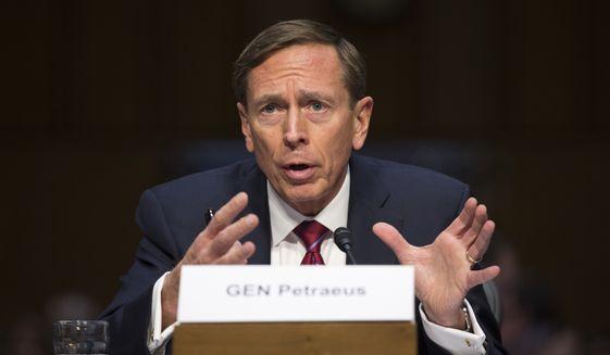 David Petraeus testifies on Capitol Hill in Washington in this Sept. 22, 2015, file photo. (AP Photo/Evan Vucci, File) ** FILE **