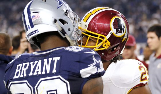 Dallas Cowboys wide receiver Dez Bryant (88) and Washington Redskins cornerback Josh Norman (24) have a heated exchange on the field after their NFL football game, Thursday, Nov. 24, 2016, in Arlington, Texas. (AP Photo/Roger Steinman)