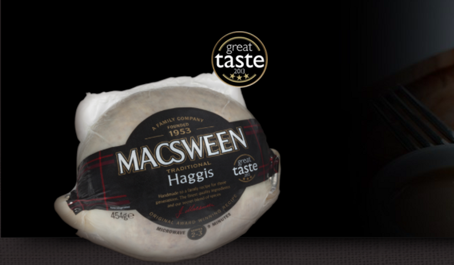A package of haggis. Scottish officials are optimistic it may soon be easier to export the product to American consumers, with the pending end of a 1997 ban on importing British sheep products. Image via the official website for Macsween, a Scottish butcher.