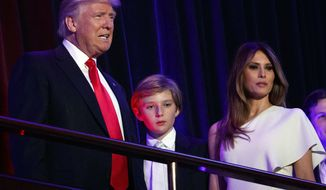 In this Nov. 9, 2016, file photo, President-elect Donald Trump, left, arrives to speak at an election night rally with his son Barron and wife Melania, in New York. Breaking with tradition, Donald Trump will move into the White House after the inauguration while wife Melania and 10-year-old son Barron plan to remain in New York City until at least the end of the school year. (AP Photo/Evan Vucci, File)
