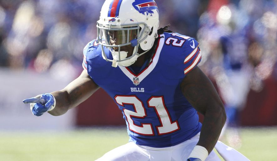 FILE - In this Sept. 25, 2016, file photo, Buffalo Bills defensive back Nickell Robey-Coleman points to an Arizona Cardinals player during an NFL football game in Orchard Park, N.Y. Some 13 months later, Robey-Coleman insists he didn't interfere with Jacksonville Jaguars receiver Bryan Walters. And the Bills cornerback's only wish is that NFL referee Terry McAulay and his crew were officiating Buffalo's home game against Jacksonville on Sunday. (AP Photo/Bill Wippert, File)